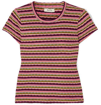 Madewell Aanisa Striped Ribbed Cotton-blend Top - Burgundy