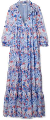 Eywasouls Malibu - Cora Tiered Floral-print Chiffon Maxi Dress - Blue