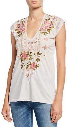 Johnny Was Yuki Deep Scoop-Neck Cap-Sleeve Embroidered Linen T-Shirt