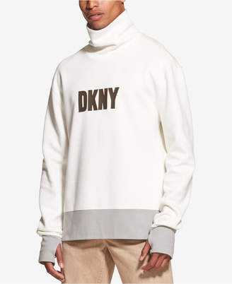DKNY Men's Colorblocked Logo Graphic Funnel-Neck Sweatshirt