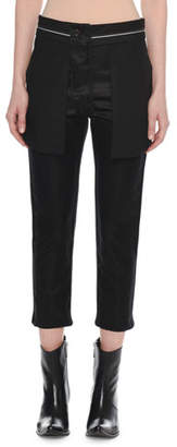 Unravel Reversed Straight-Leg Cropped Silk Trousers