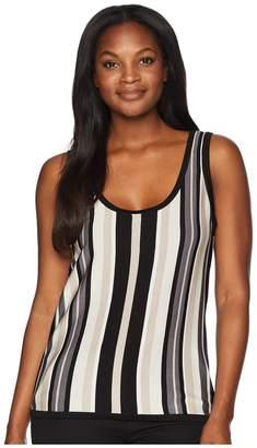 Anne Klein Vertical Stripe Scoop Neck Tank Top - Stripe Knit Women's Sleeveless