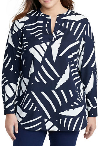 Lauren Ralph LaurenLauren Ralph Lauren Plus Long Sleeve Crepe Split-Neck Tunic