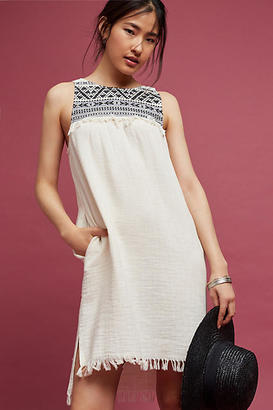 Drew Embroidered & Fringed Tunic Dress $148 thestylecure.com