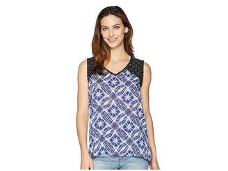 Tribal Printed Sleeveless Blouse with Trim Women's Blouse
