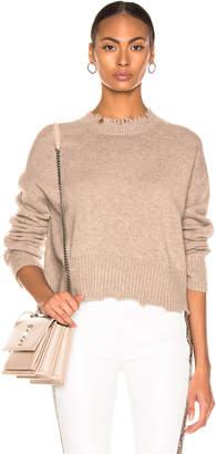 Helmut Lang Distressed Crew Sweater in Beige | FWRD