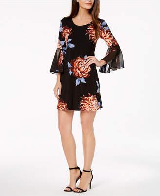 MSK Petite Floral Bell-Sleeve Dress