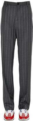 Versace Pinstriped Wool Trousers