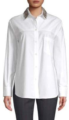 Piazza Sempione Embellished Collar Button Down Shirt