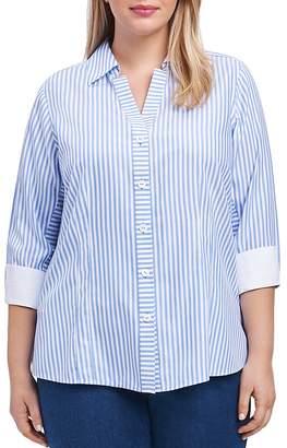 Foxcroft Three-Quarter-Sleeve Striped Shirt