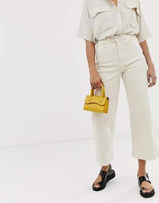 Weekday cropped straight leg jeans in off white