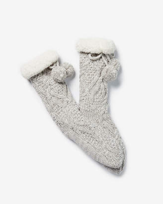 Express Cable Knit Pom Slipper Socks
