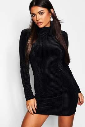boohoo Ribbed Velvet Bodycon Dress