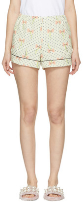 Miu Miu Ivory Polka Dot and Bow Pyjama Shorts
