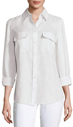 Go Silk Long-Sleeve Button-Front Linen Top, Petite