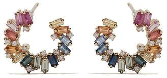 Suzanne Kalan 18kt yellow gold, diamond and sapphire Sideways Spiral Rainbow Fireworks earrings