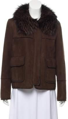 Dennis Basso Fur-Trimmed Shearling Jacket