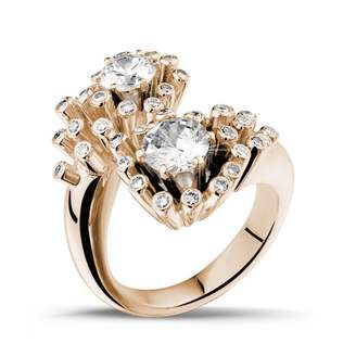 Toi et Moi 3djewels 1.50Cts Round Sim Diamond Design Engagement Ring in 14K Gold PL