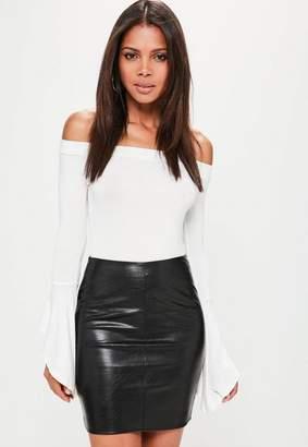 Missguided Petite Faux Leather Mini Skirt Black