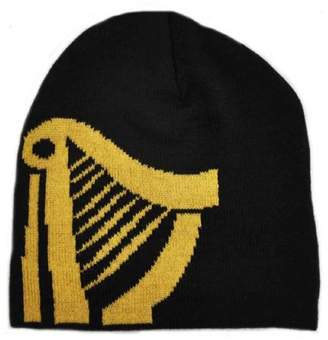 Guinness Knitted Beanie Hat With Large Gold Harp Design