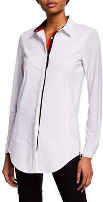 Anatomie Francine Button-Down Jersey Shirt w/ Stripe Trim