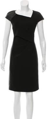 J. Mendel Leather-Accented Sheath Dress Black Leather-Accented Sheath Dress