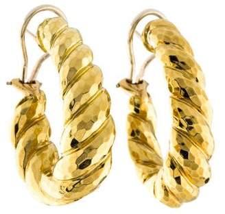 Henry Dunay 18K Hammered Hoop Earrings
