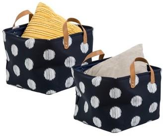 Honey-Can-Do Coastal Collection Storage Bin Set, Navy/Gray Dot (Set of 2)