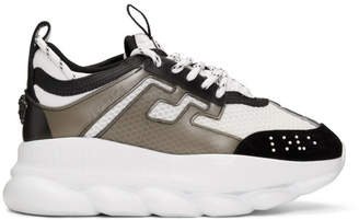 Versace White and Black Mesh Chain Reaction Sneakers