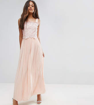 Little Mistress Tall Premium Lace Top Maxi Dress With Pleated Skirt