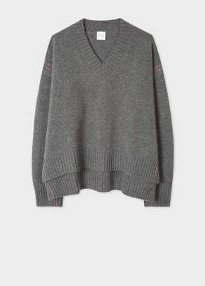 Paul Smith Women's Grey Wool V-Neck Sweater With Pink Stitching Detail