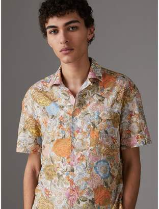 Burberry Short-sleeve Floral Print Cotton Shirt