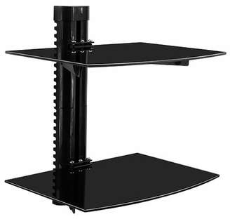 Mount-it Tinted Tempered Glass Floating 2 Shelves Wall Mounted Shelf Bracket Stand Mount-it