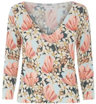La Perla Knitwear Multicolour Floral Cashmere V-Neck Jumper