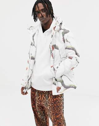HUF Avalanche Parka With Floral Print In White