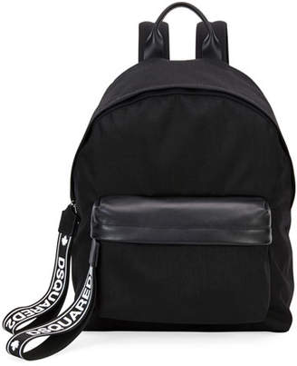 DSQUARED2 Men's Nylon Backpack w/ Leather Trim