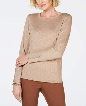 JM Collection Studded Metallic Sweater