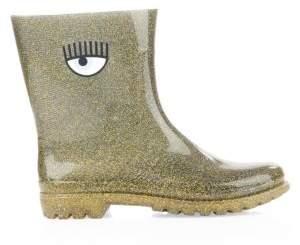 Chiara Ferragni Graphic Glitter Rain Boots