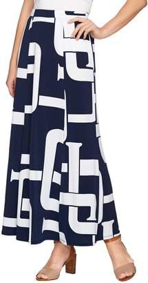 Susan Graver Printed Liquid Knit Six Gore Maxi Skirt with Slit