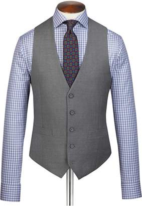 Charles Tyrwhitt Grey Adjustable Fit Twill Business Suit Wool Vest Size w40