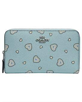At David Jones Coach Medium Zip Around Wallet With Western Heart Print