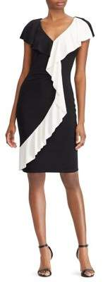 Lauren Ralph Lauren Two-Tone Short-Sleeve Jersey Dress