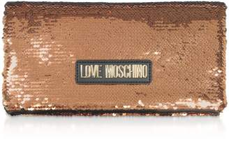 Love Moschino Rose Gold Sequins Clutch W/ Chain Straps