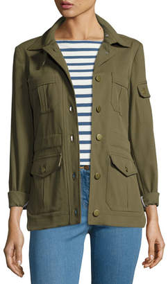 Veronica Beard Camp Ponte Utility Jacket, Olive