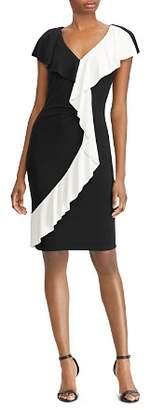 Ralph Lauren Two-Tone Ruffle-Trim Dress