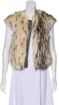 Twelfth Street By Cynthia Vincent Faux Fur Open Front Vest