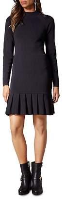 Karen Millen Lace-Inset Pleated-Hem Dress