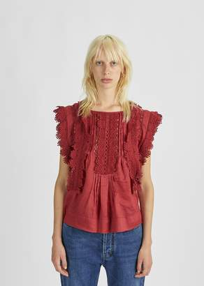 Isabel Marant Nandy Lace Embroidered Top Burgundy