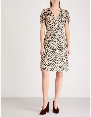 Alice + Olivia Alice & Olivia Rosette leopard-print devoré mini wrap dress