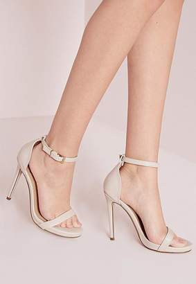 Barely There Heeled Sandals Nude $40 thestylecure.com